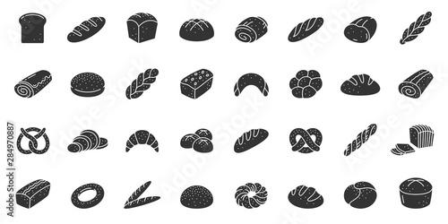 Fotografia Bread bakery baking silhouette icon vector set