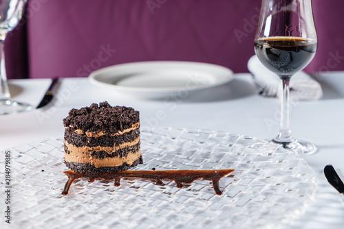 Fotografie, Obraz chocolate cake with sherry