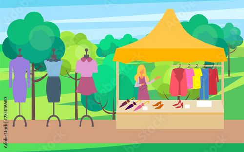 Salesperson with clothes for women vector, summer or spring fair for female Fototapet