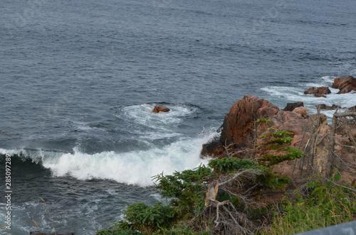 Canvas Print Summer in Nova Scotia: Wave Breaks on Rocky Shore Near Ingonish on Cape Breton I
