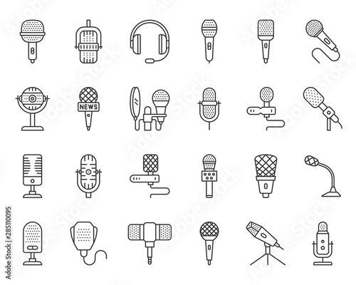 Fotografia Microphone simple black line icons vector set