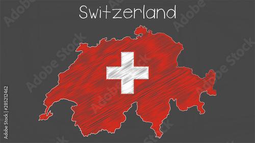 Photo Switzerland map-flag chalkboard style illustration