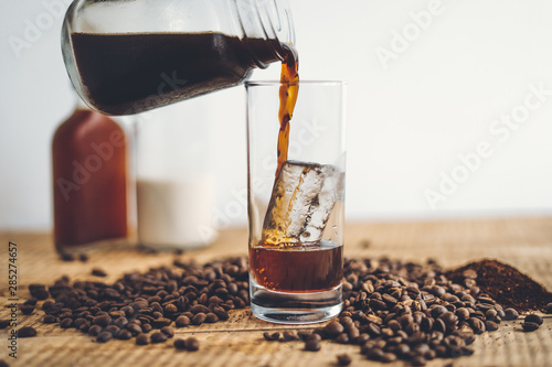 cold brew coffee In the glass And milk Fototapete