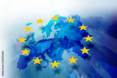 Background image with media screen Diagrams and graphs. In the background is the outline of the Union of Europe