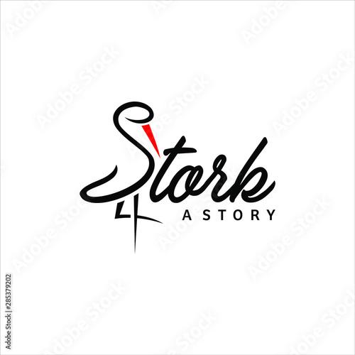 Stampa su Tela simple black typography stork logo design idea