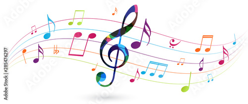 Photographie Colorful music notes background isolated on white