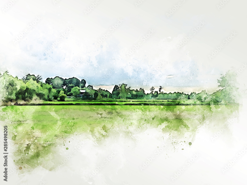 Abstract colorful shape on tree and field landscape watercolor illustration painting background. <span>plik: #285498205 | autor: Watercolor_Concept</span>