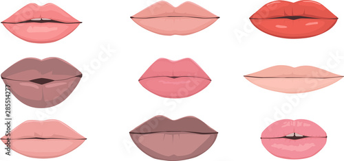 Stampa su Tela Set of realistic racially diverse vector illustrations of human lips, male and f