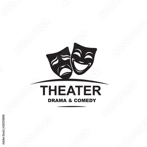 Canvas Print icon of comedy and tragedy theatrical masks isolated on white background