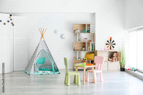 Interior of modern children's room with toys Fototapeta