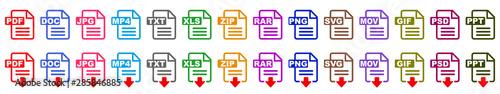 Fotografie, Tablou Symbol set  file formats, file extensions diverse icons set isolated - stock vec