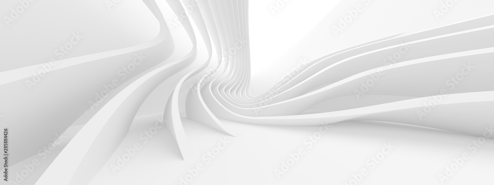 Abstract Architecture Background. 3d Rendering of White Circularl Building