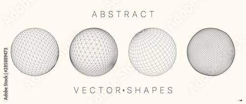 Canvas Print Geometric shape for design. 3d technology style.