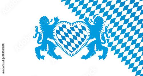 Fotografia Oktoberfest 2019 Bavarian lions gingerbread heart logo isolated white blue flag