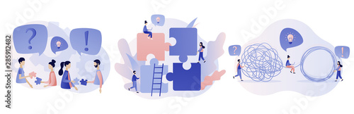 Team metaphor concept. Puzzle elements. Tangle tangled and unraveled Modern flat cartoon style. Vector illustration