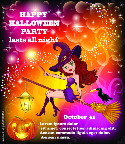 Fotografia, Obraz Poster illustration of a happy Halloween party with a young witch flying on a br
