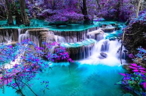 Fototapeta amazing of huay mae kamin waterfall in colorful autumn forest at Kanchanaburi, t