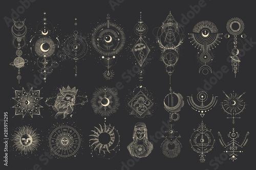 Obraz na płótnie Vector illustration set of moon phases