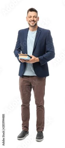 Photo Handsome male teacher on white background