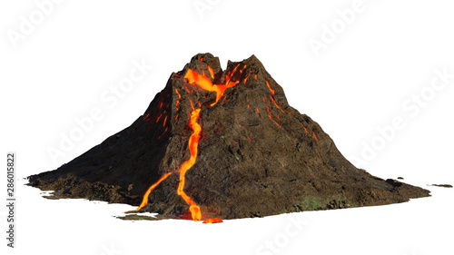 Photo volcano eruption, lava coming down a mountain, isolated on white background