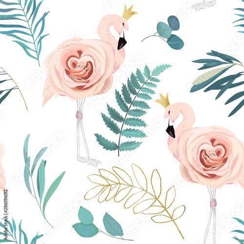Fototapeta Streszczenie wzór z flamingów, róż i gałęzi eukal