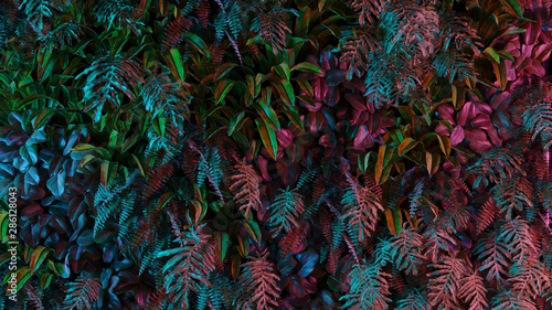 Fotografia Neon tropical jungle forest leaves in vibrant color for retro poster background like stranger things