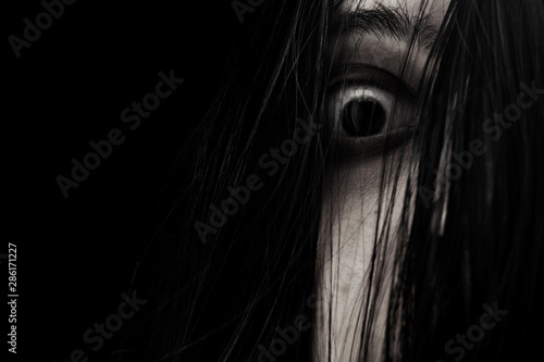 Fotografering Close up of scary ghost woman eye