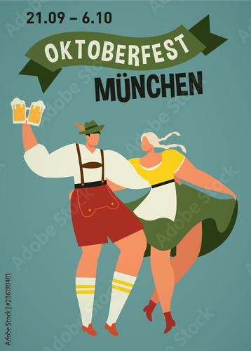 Leinwand Poster Young couple in traditional bavarian clothes with girl in dirdl dress dance