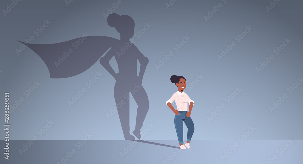 african american businesswoman dreaming about being super hero shadow of woman with cape imagination aspiration concept female cartoon character standing pose full length flat horizontal <span>plik: #286259651   autor: mast3r</span>