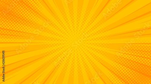 Fototapeta Żółte tło pop-artu z kropkami i liniami na zamówienie