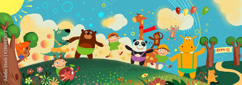 Zoos, animals, children, cartoons, cute, bears, toys, kindergartens, illustrations, pandas, play, happy, Children's Day, fun, paradise, forest, fairy tales, hand in hand, parties,