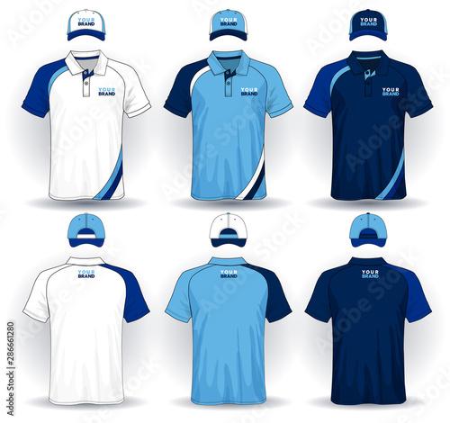 Photo Set of uniform template, polo shirts and caps.