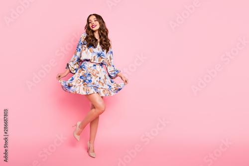 Full length photo of nice lady ready for prom night wear cute dress isolated pin Fototapeta