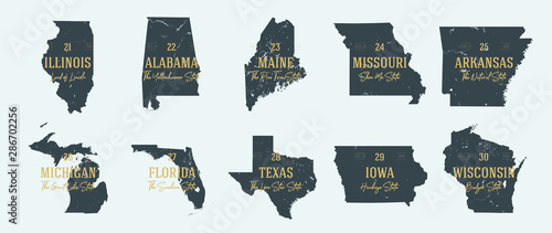 Stampa su Tela Set 3 of 5 Highly detailed vector silhouettes of USA state maps with names and t