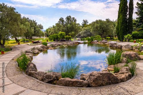 Fotografie, Obraz Fragment of beautiful garden with an artificial pond in summer