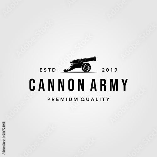 Leinwand Poster Vintage Cannon icon logo vector isolated white background illustration