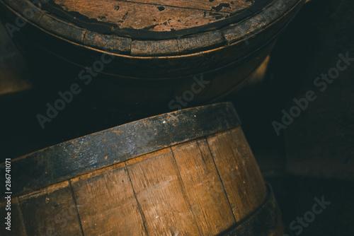 Tablou Canvas Old barrel background, cask close up