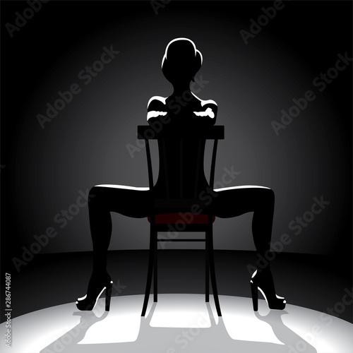 Cabaret dancer silhouette Fototapet