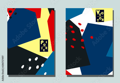 Canvastavla Trendy cover with graphic elements - abstract shapes