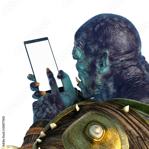 Fotografija orc warrior using a cellphone