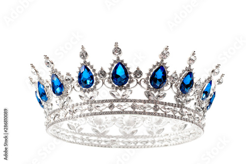 Obraz na plátně Beauty pageant winner, bride accessory in wedding and royal crown for a queen co