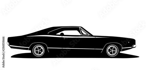 Foto Vector american muscle car profile