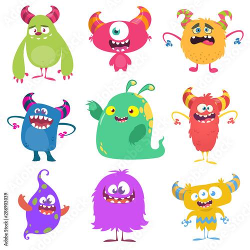 Funny cartoon monsters set. Vector illustration фототапет