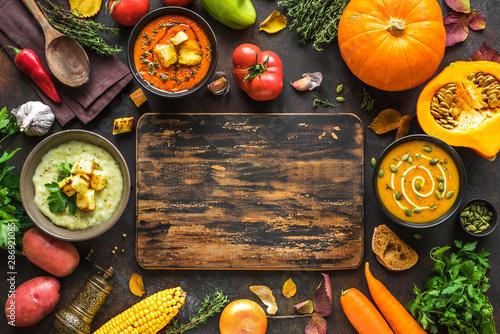 Canvas Print Autumn soups set