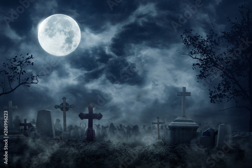 Tableau sur Toile Zombie Rising Out Of A Graveyard cemetery In Spooky dark Night full moon
