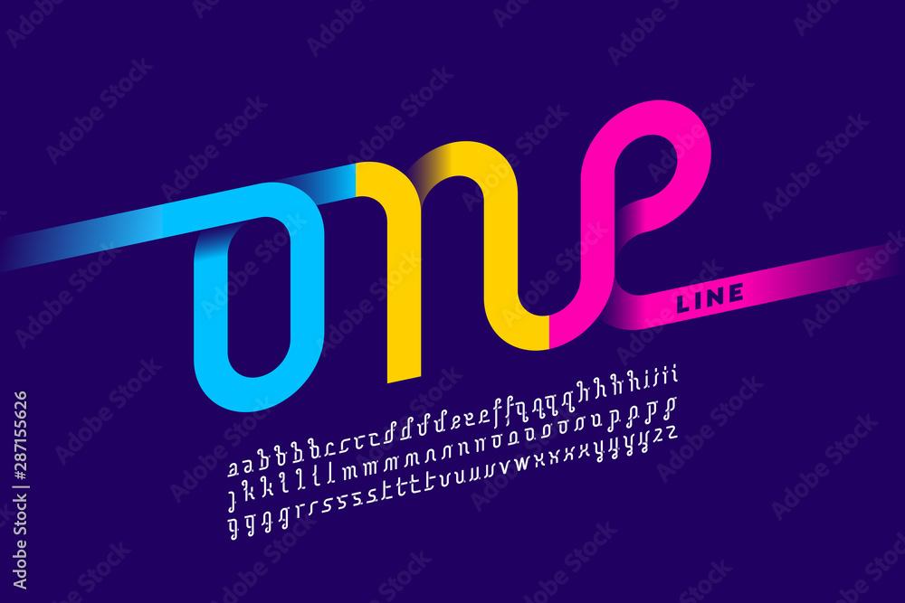 Jednoliniowy projekt czcionki, pojedynczy ciągły alfabet <span>plik: #287155626 | autor: piai</span>