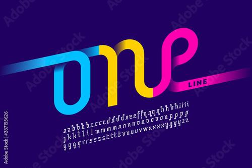 Obraz na plátně One line style font design, single continuous line alphabet