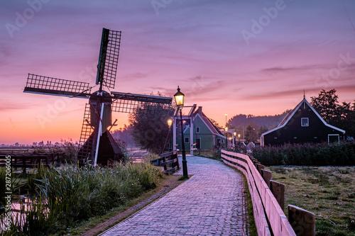 Canvas Print Zaanse Schans windmill village in the Netherlands, zaanse schans is a small wood