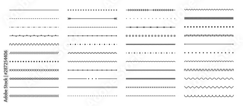 Obraz na płótnie Set of hand drawn vector line border