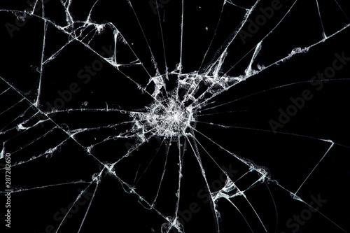 Fotografia, Obraz Texture broken glass with cracks
